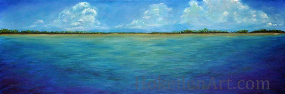 Pirata Playa by Monica Hokeilen, oil on canvas, 36x12 inches