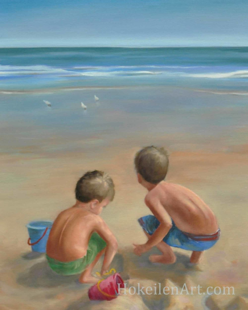 Boys on the Beach by Monica Hokeilen, oil on canvas, 18x24 inches