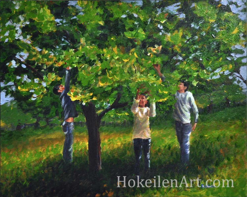 Climbing Trees is an acrylic on canvas painting of a very dear family that we had to say goodbye to this summer. The three Mitchell kids are picking apples - one of the many adventures we shared with them in Virginia over the past three years. I love these kids and saying goodbye was so difficult!