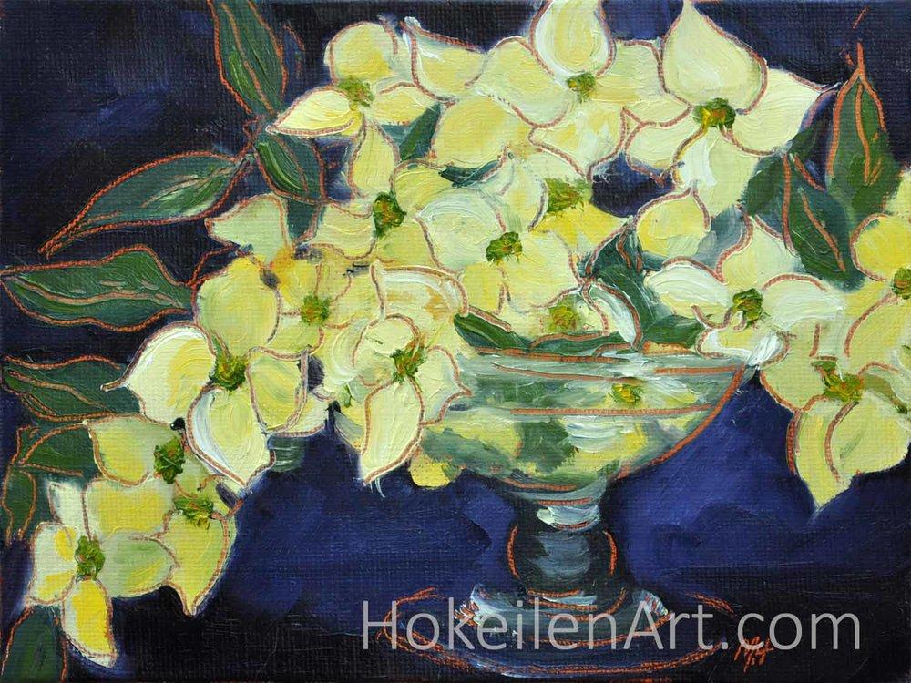 Dogwood Bouquet - oil on canvas board, 6