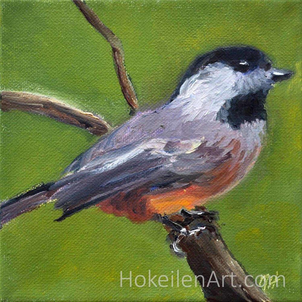 Chick-a-dee-dee-dee - oil on canvas, 6