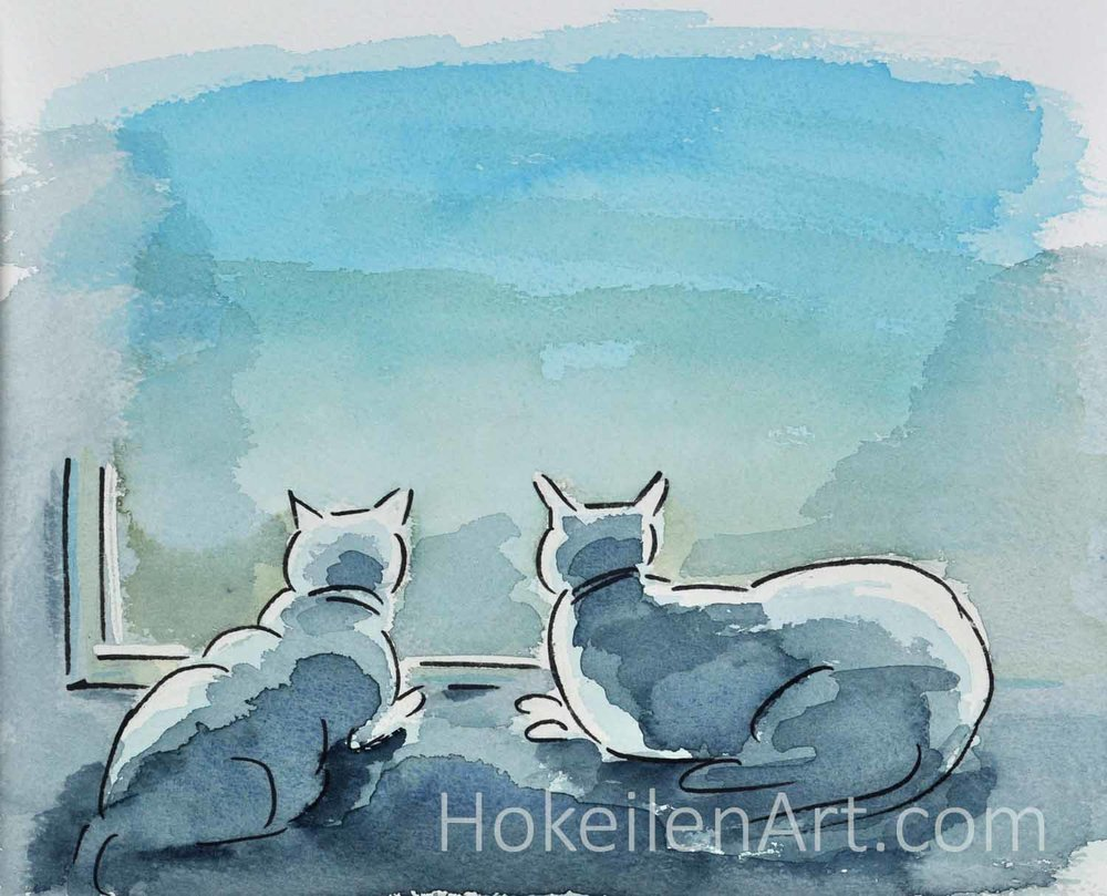Watching the Squirrels - watercolor on paper, framed to 12