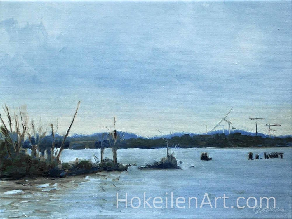 Potomac River from Old Town in Winter - oil on canvas 9