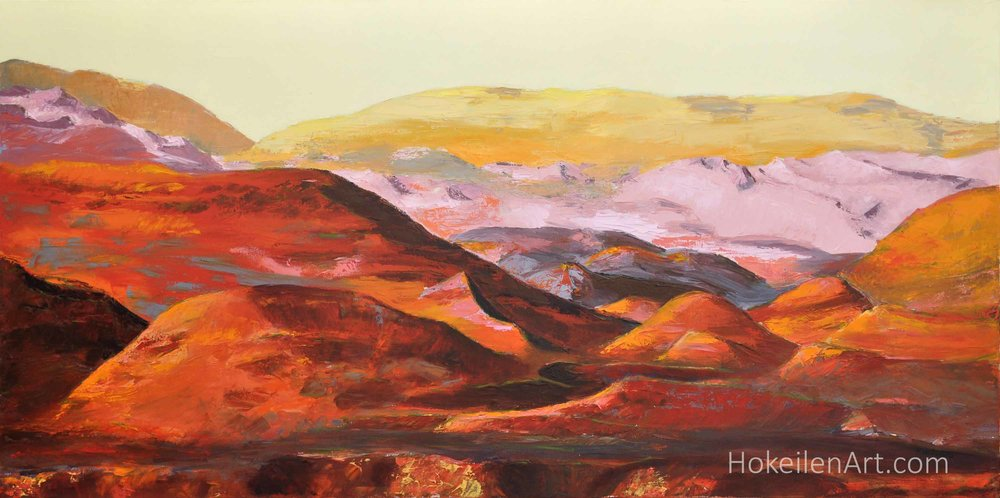 """If These Hills Could Talk by Monica Hokeilen, oil on canvas, 24""""x48"""""""