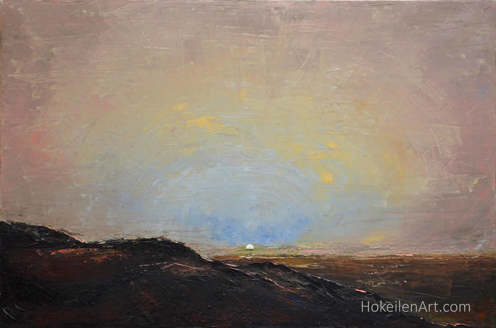 "Sunset at Gusev Crater, Mars by Monica Hokeilen, oil on canvas, 24""x36"""