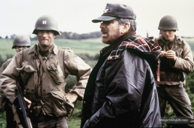 Director Steve Spielberg and Tom Hank on the set of Saving Private Ryan