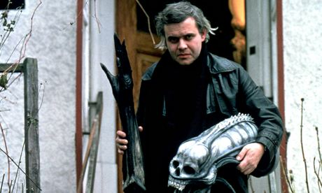 H.R. Giger on the set of Alien