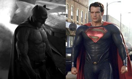 Ben Affleck as Batman in a recently released promo image from Dawn of Justice, and Henry Cavill in Man of Steel