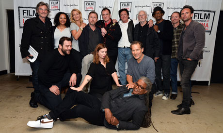 Quentin Tarantino and cast at the live reading of The Hateful Eight at the United Artist's Theatre in LA