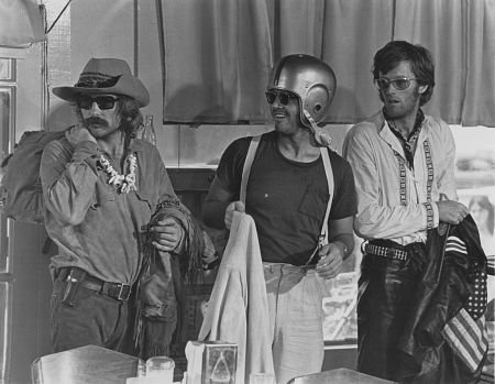 Hopper, Peter Fonda and Jack Nicholson in Easy Rider