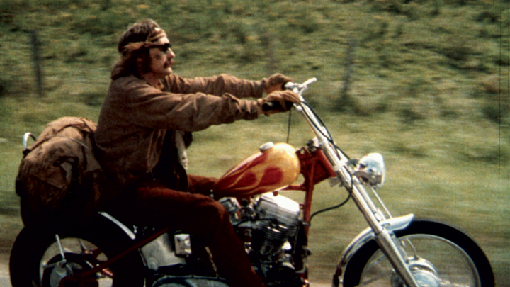 Dennis Hopper in 1964s cult classic indie Easy Rider, which he wrote, directed and starred in.