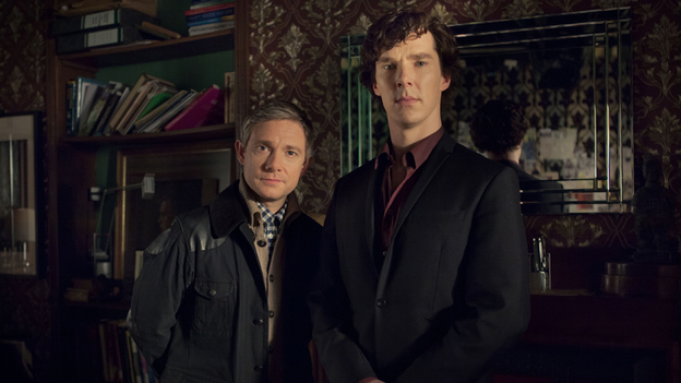 Martin Freeman and Benedict Cumberbatch as Watson and Sherlock