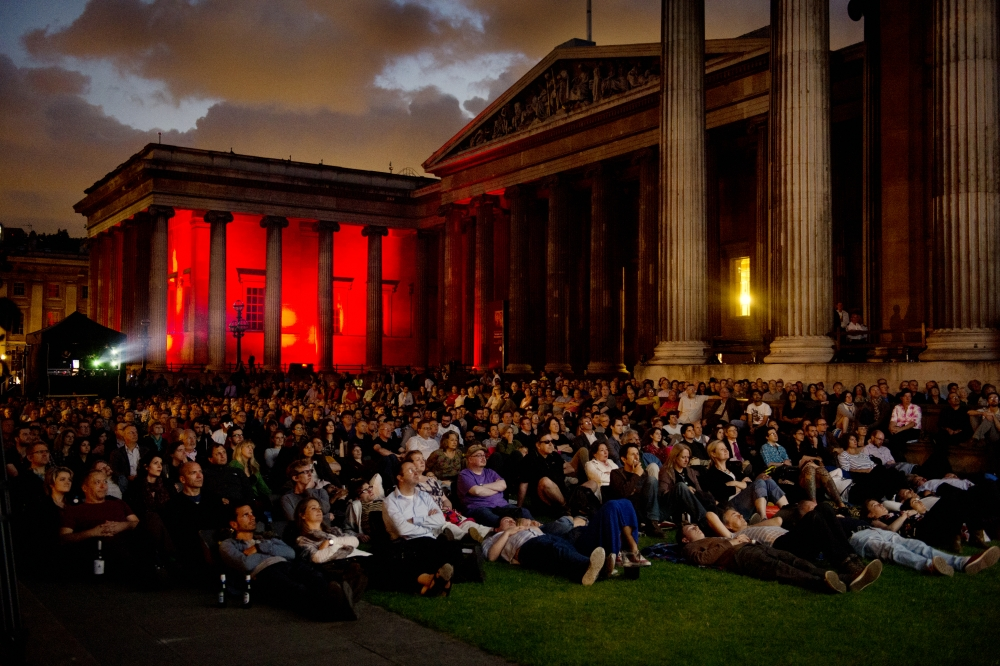 The British Museum forecourt transformed into a screening area for the BFI Sci-Fi Season
