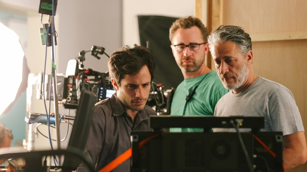 Jon Stewart and  Rosewater  star Gael Garcia Bernal on set