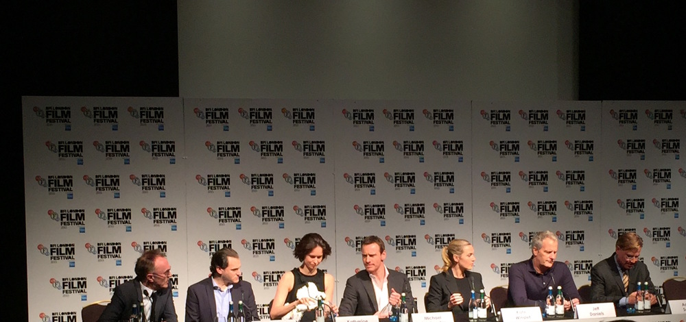Director Danny Boyle, write Aaron Sorkin, and stars Michael Stuhlbarg, Katherine Waterston, Michael Fassbender, Jeff Daniels and Kate Winslet at the Steve Jobs BFI LFF 2015 press conference. Copyright: Owen Van Spall, Smoke Screen.