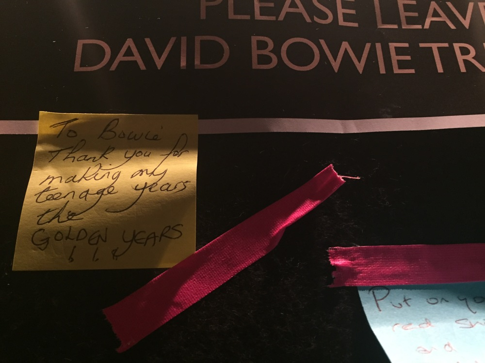 Tributes to Bowie in the Genesis Cinema lobby