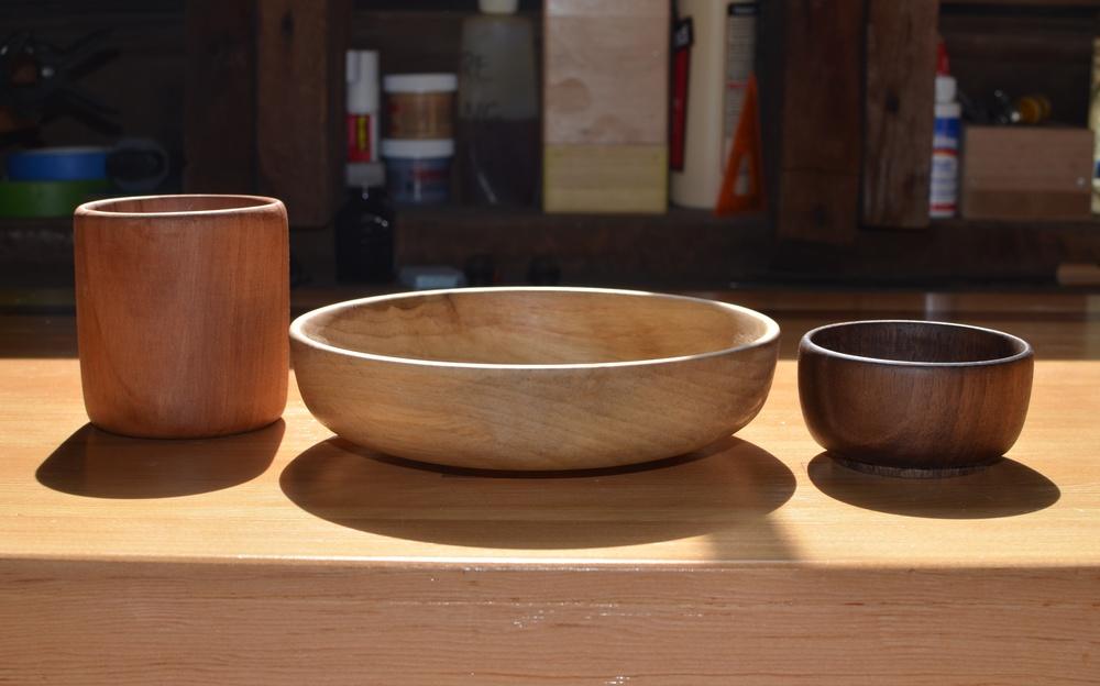 Three pieces , 2014. Redwood, poplar, walnut, beeswax.