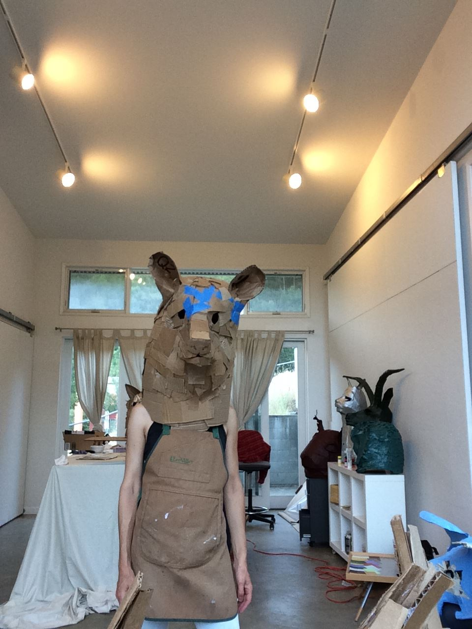 Bear head in process at the Montalvo Art Center, July 2016
