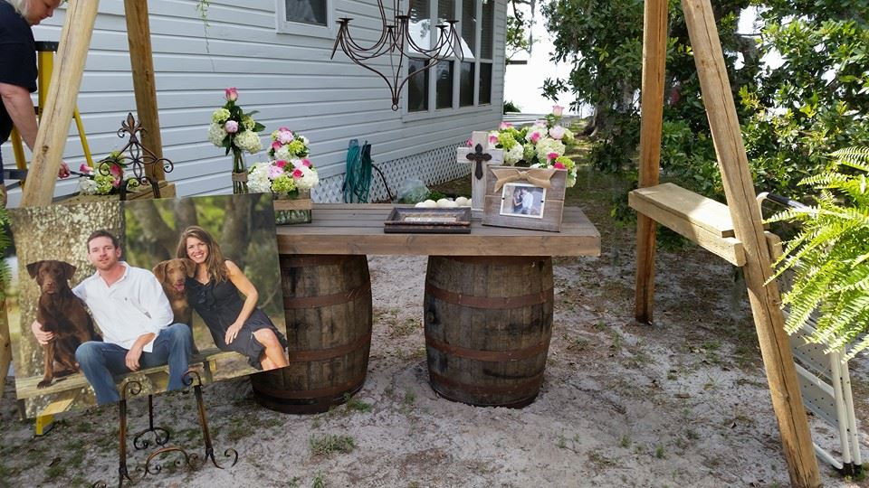 Whiskey Barrel Table For Rent