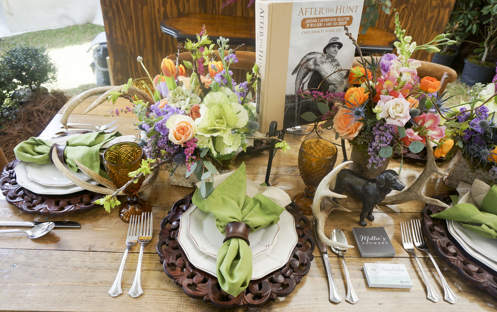 Farm table setting for event