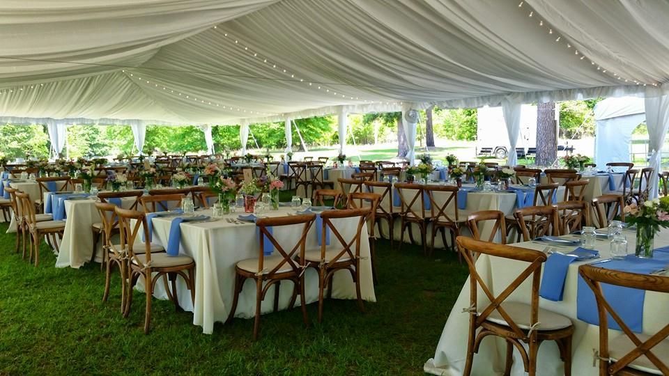 Draped Tent with Crossback Chairs & Tent Rentals Mobile AL | Pensacola FL