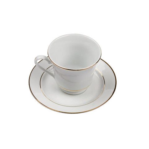Gold Rim White China Cup and Saucer