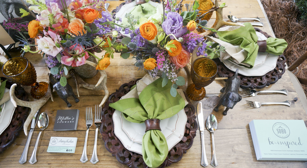 Farm Table with Cross Back Chairs and Amber Goblets
