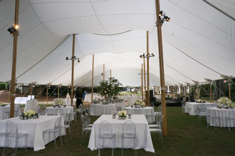 60 x 120 Sailcloth Tent with Ghost Chairs