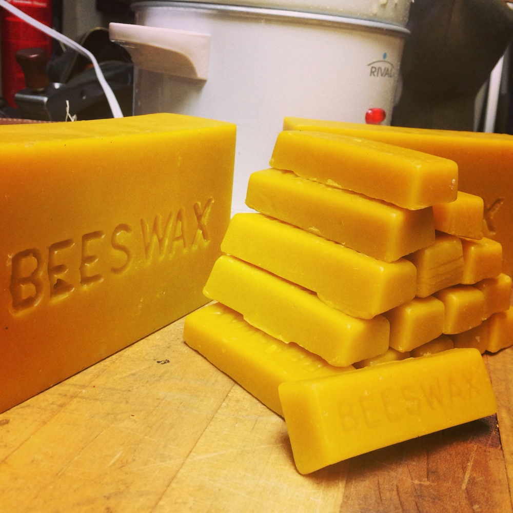 Mixing up a fresh batch of wax for our canvas using local beeswax