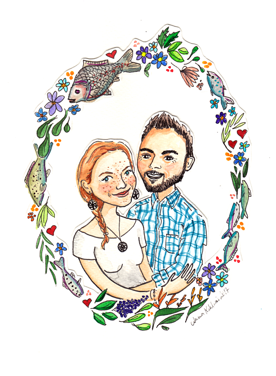 Commissioned couple portrait for a wedding present.