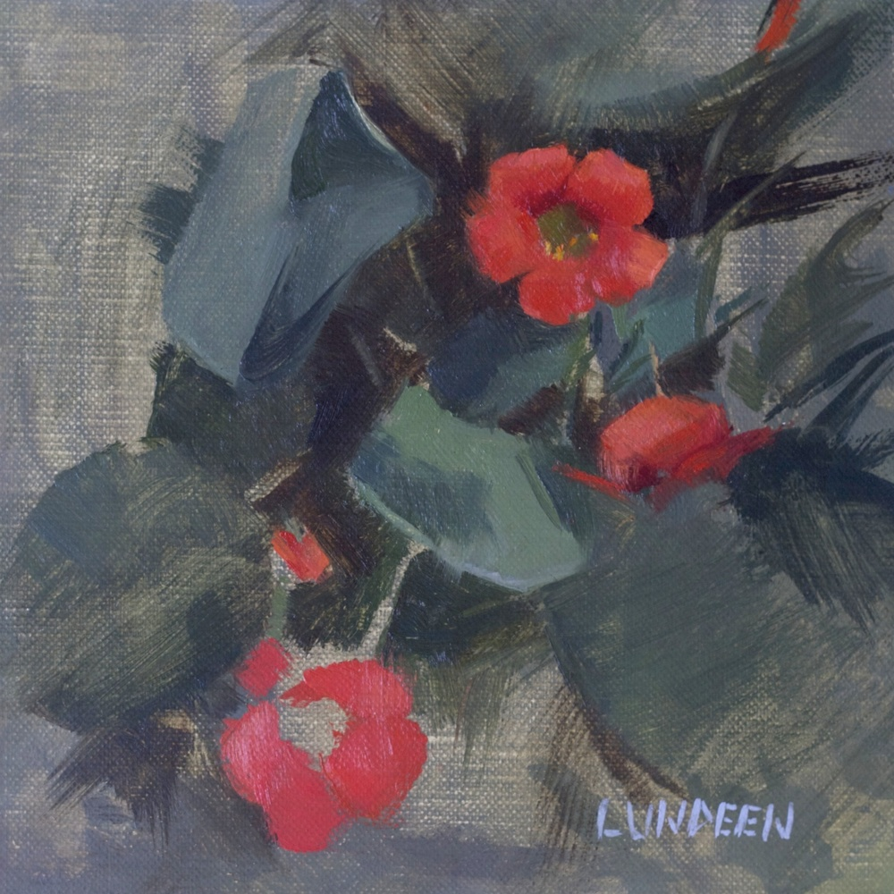 """Nasturtiums -6""""x6"""" - oil on linen panel - Private Collection"""