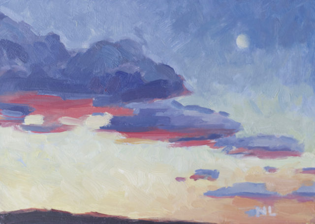 """Sunset with Pink - 5""""x7"""" - oil on panel"""