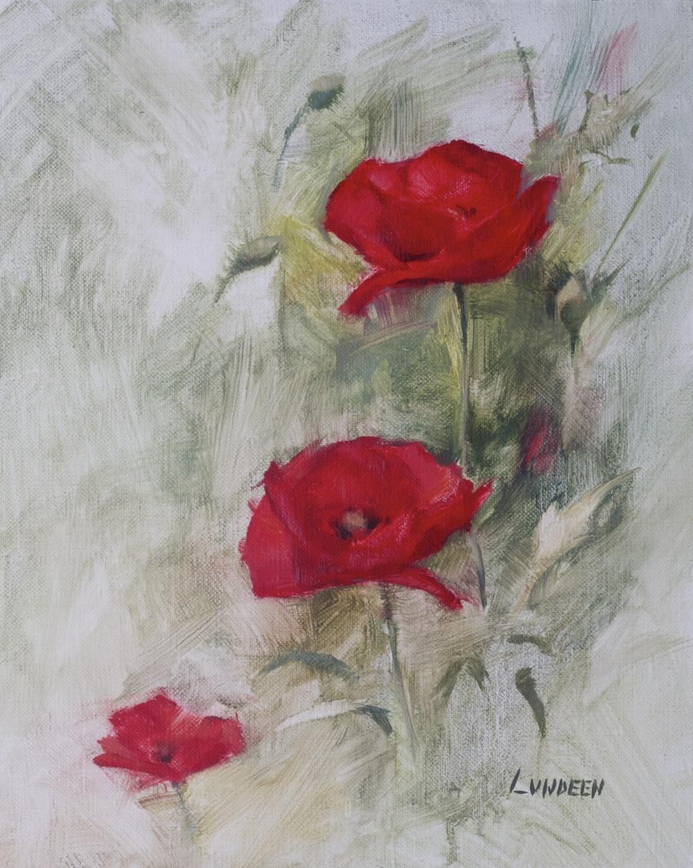 """Poppies -8""""x10"""" - oil on linen panel"""