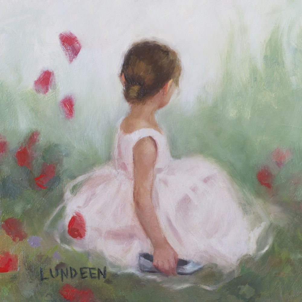 """In the Garden - 6""""x6"""" - oil on panel -Private Collection"""