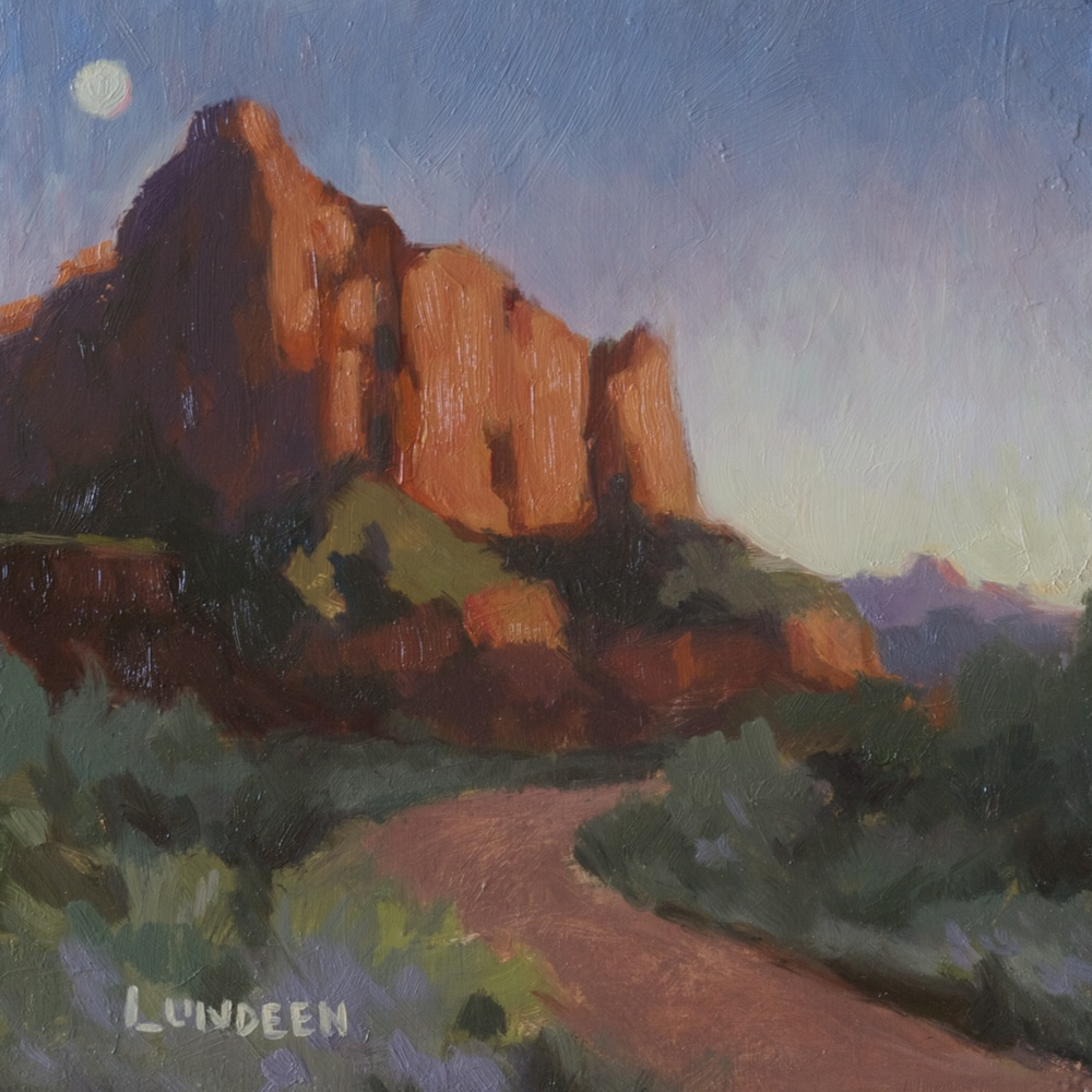 "Last Light in Zion- 6""x6"" - oil on panel"
