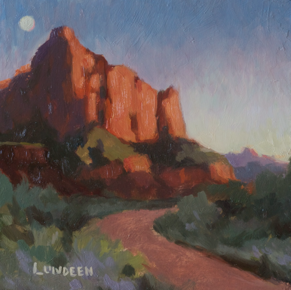 "Last Light in Zion   - 6""x6"" - oil on panel"