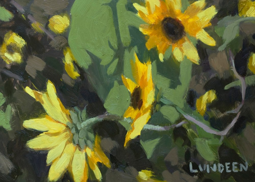 "Sunflowers - 5""x7"" -  oil on panel -  SOLD"