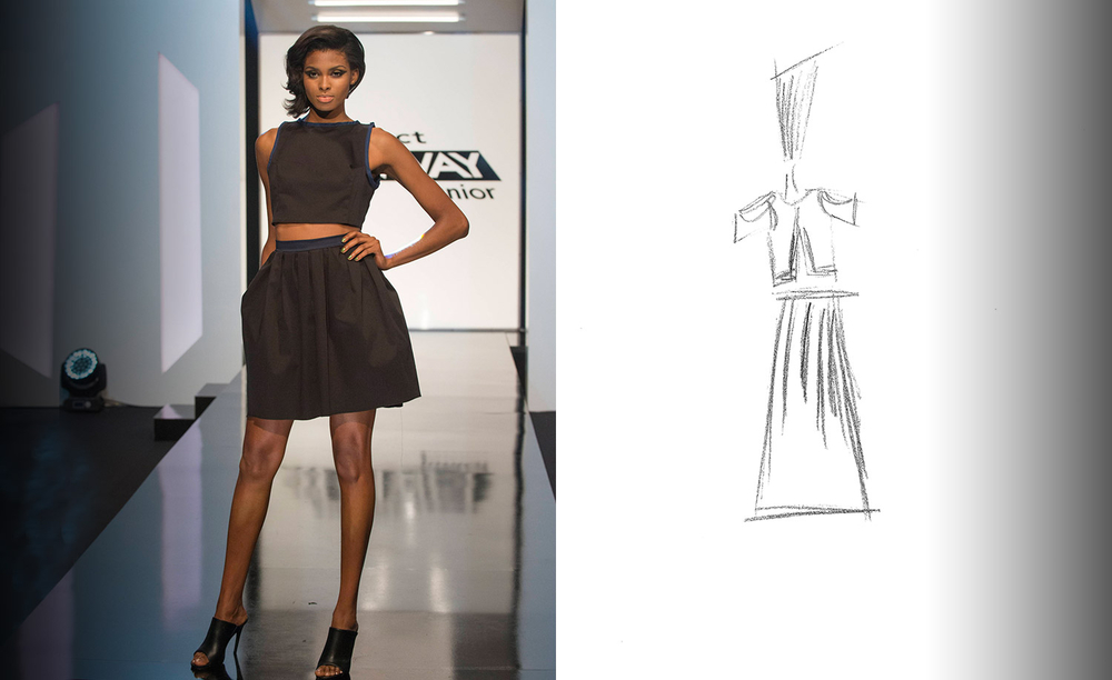Tierra Benton wearing #DesignerVictoria Project Runway Junior S1 E3 Team Work is Hard