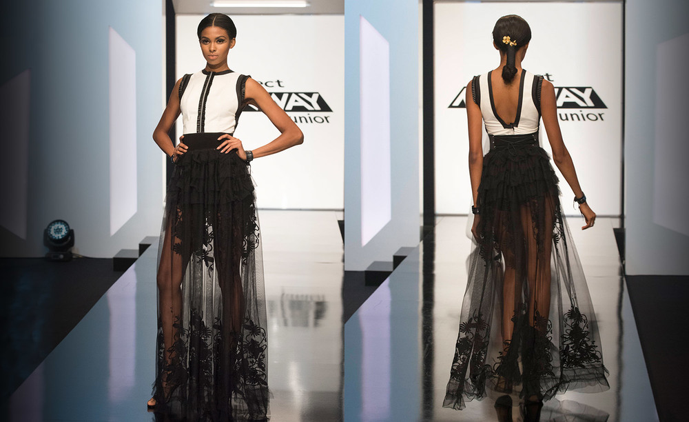 Tierra in a Project Runway Junior finale fashion week preview look by #DesignerMaya