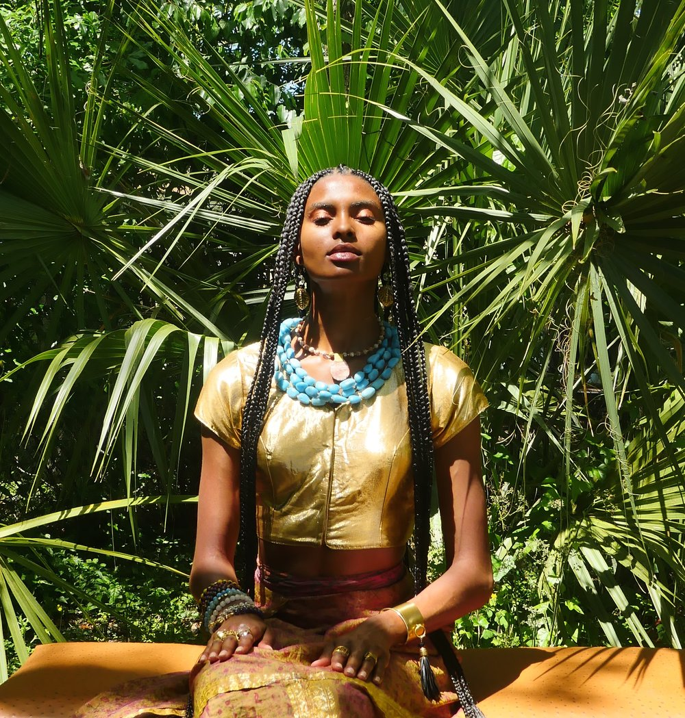 Model Tierra Benton wearing Taunya Benton Design #MotherDaughterDuo #GoddessGlo #ShineOn #Braids