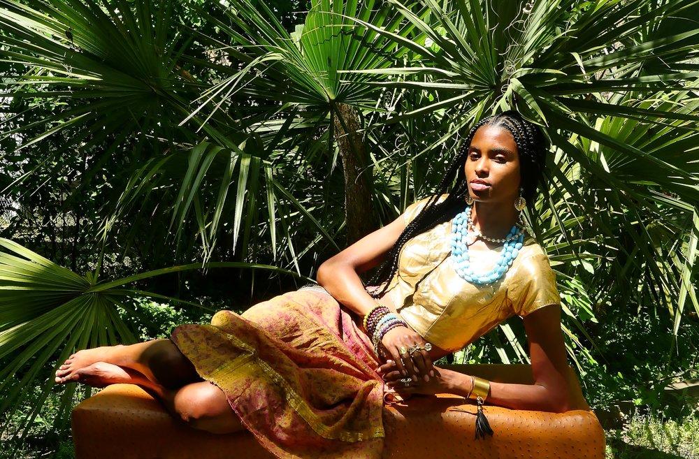 Model and artist, Tierra Benton wearing Taunya Benton Design #motheranddaughterduo #TBDesigns #TheBentonBrand #DeneeBenton