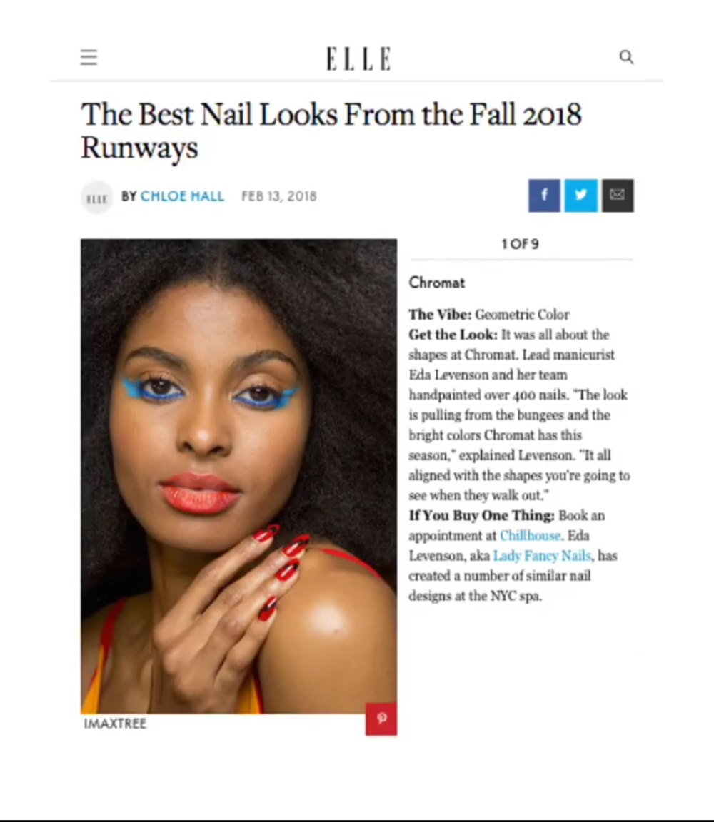 Elle Magazine Best Nail Looks from the Fall 2018 Runways