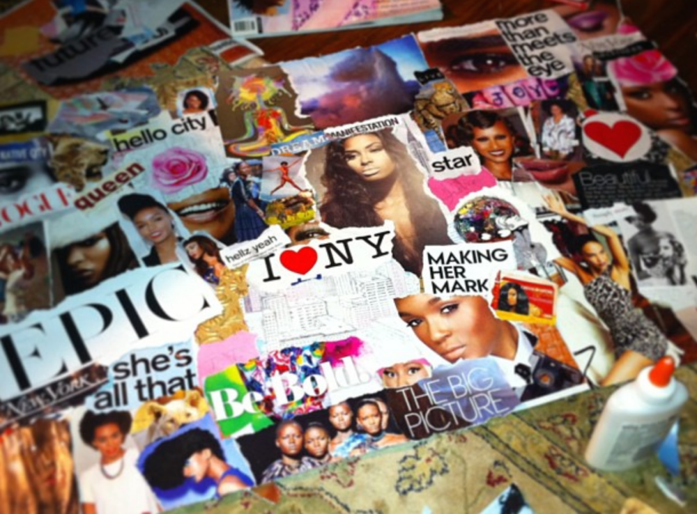 Model Tierra Benton's vision board for her move to NY June 2013