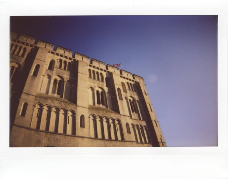 Norwich castle, a fine example of straight walled Norman architecture