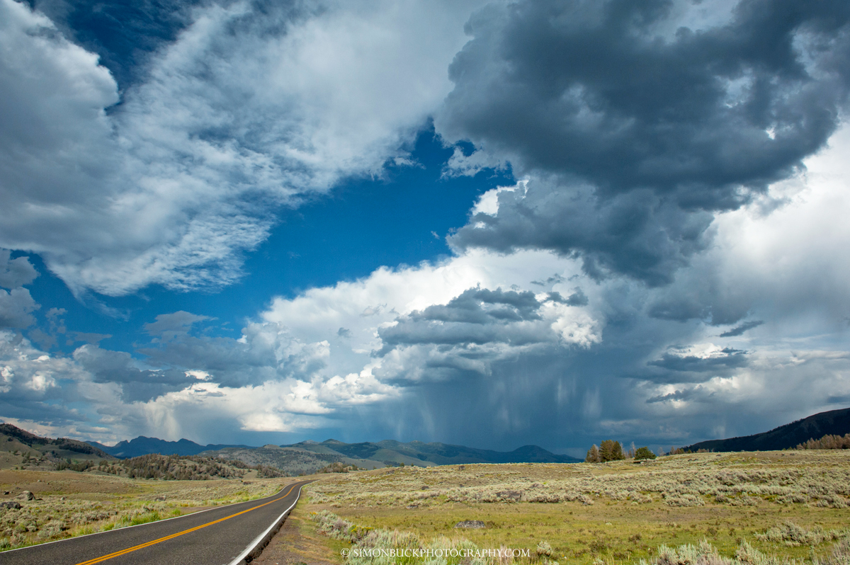 Yellowstone, Lamar Valley, storm, road, landscape, photograph