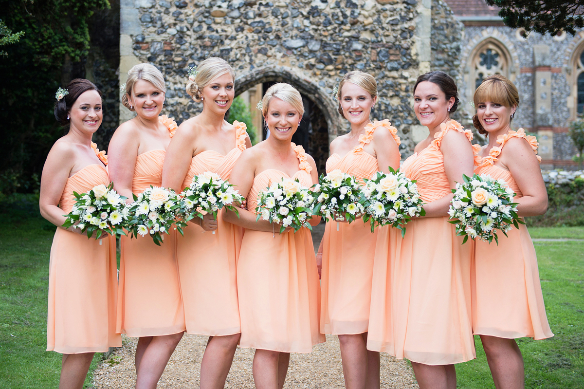 bridesmaids at the church in norfolk