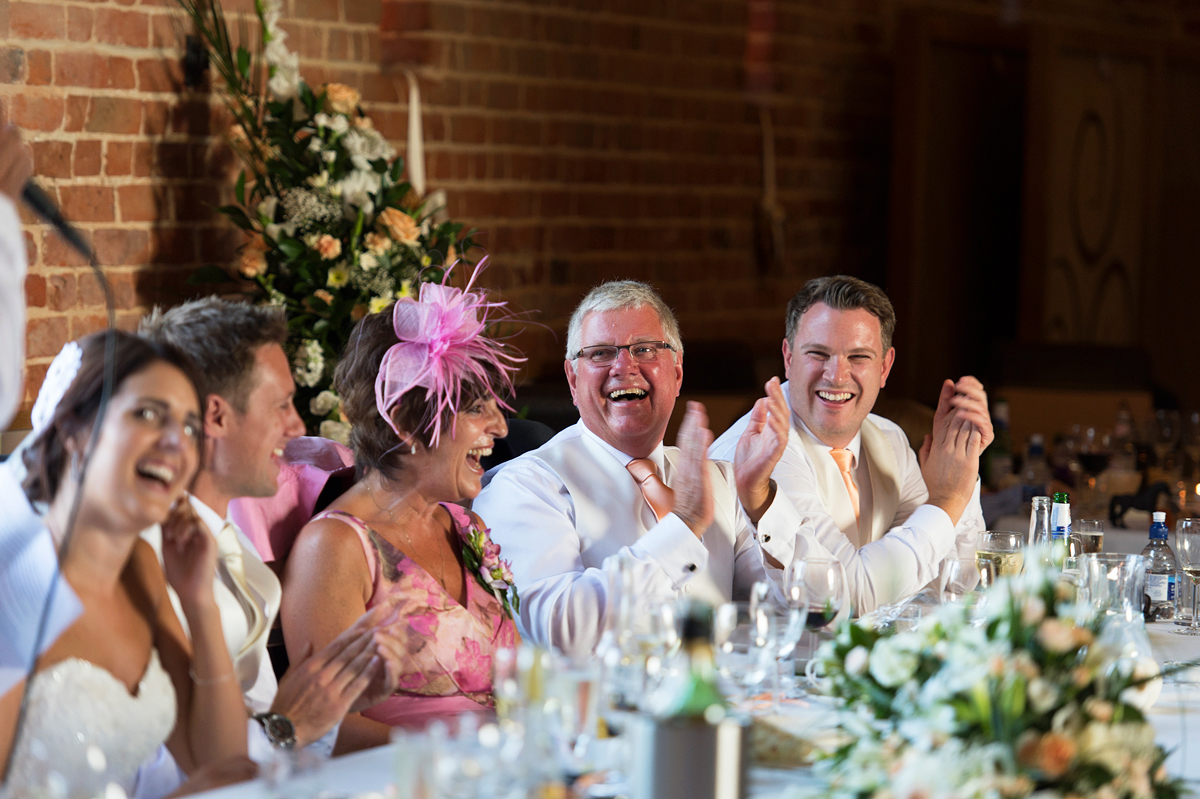 wedding day speeches with father of the groom laughing at south wood hall
