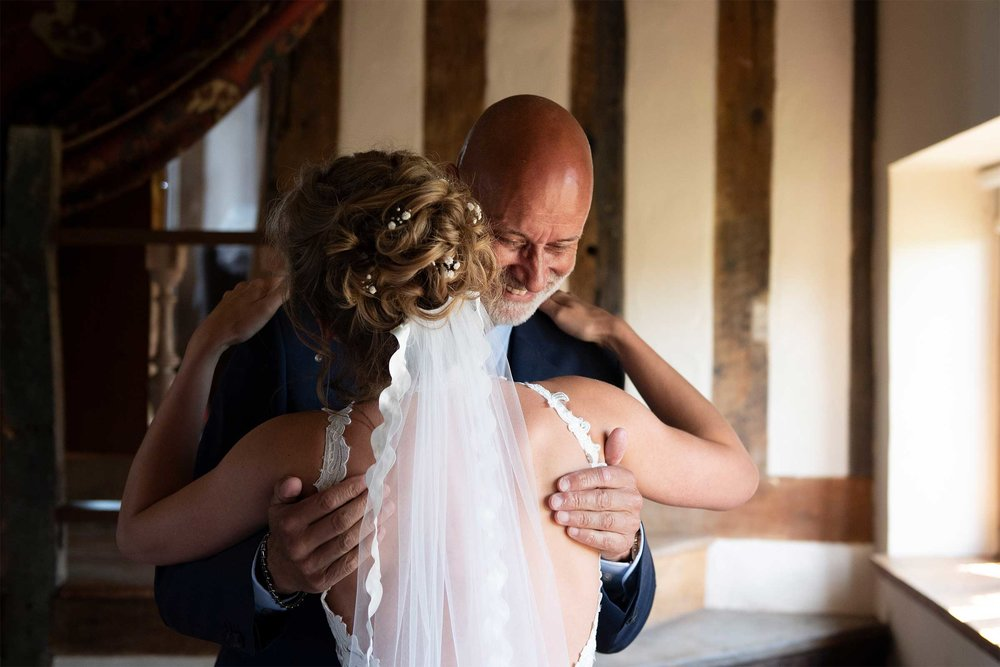 Father of the bride at wedding venue in norfolk Hales Hall