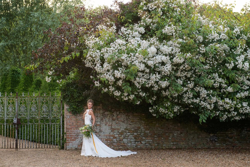 Wedding photography of bride at Hales Hall