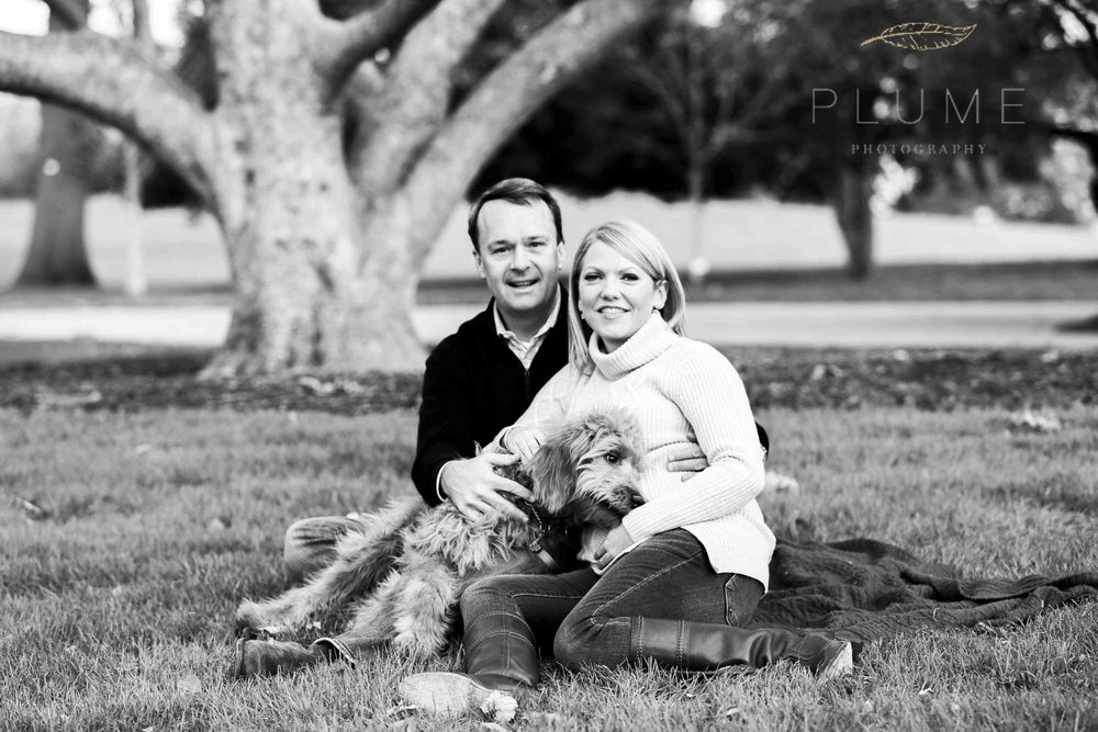 Holiday card / maternity shoot for Sarah and Raymond Paul with their goldendoodle Molly on the grounds of the US Capitol, Saturday, November 22, 2014. Photo by Amanda Reynolds